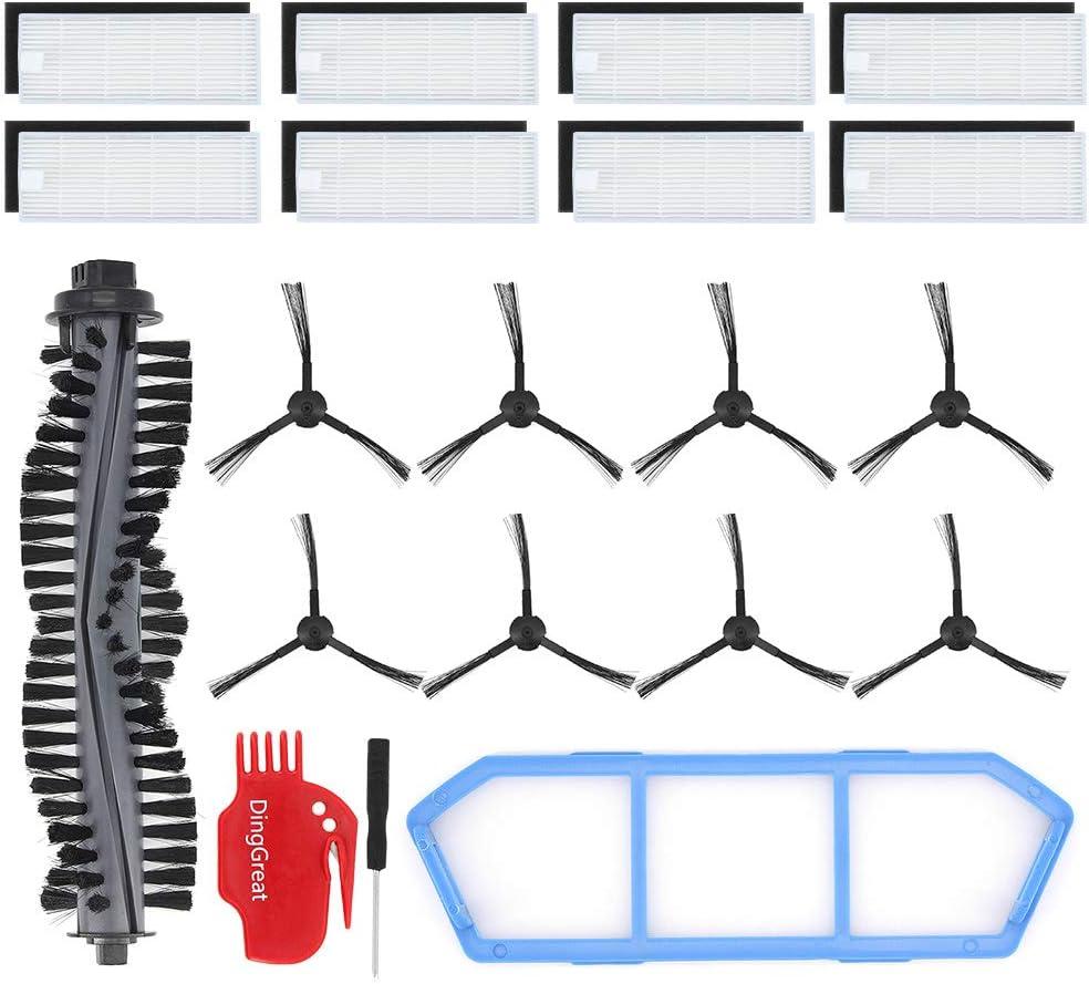 1x Filtro primario 8X cepillos Laterales DingGreat Kit Accesorios de Recambio para ILIFE A4s Aspirador Piezas de Repuesto Incluye 1x Cepillo Principal 8X filtros