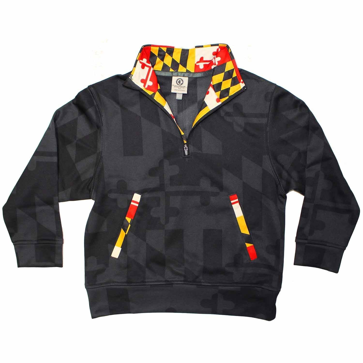 Route One Apparel Maryland Flag (Greyscale) /Youth Pullover (Small)