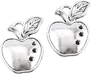 50pcs Antique Silver Apple Charms Fruit Charm Pendant for Necklace Bracelet DIY Jewelry Making Accessories 17mmx11mm(a-1271)
