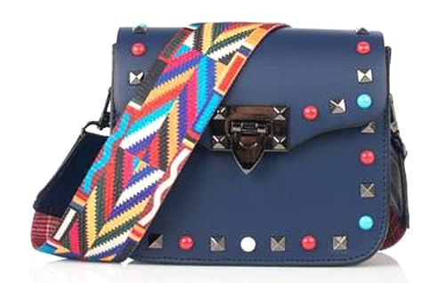 2520fcf16a Superflybags Borsa Pochette Donna Vera Pelle con Borchie colorate + tracolla  fashion modello Rodi Made In Italy: Amazon.it: Scarpe e borse