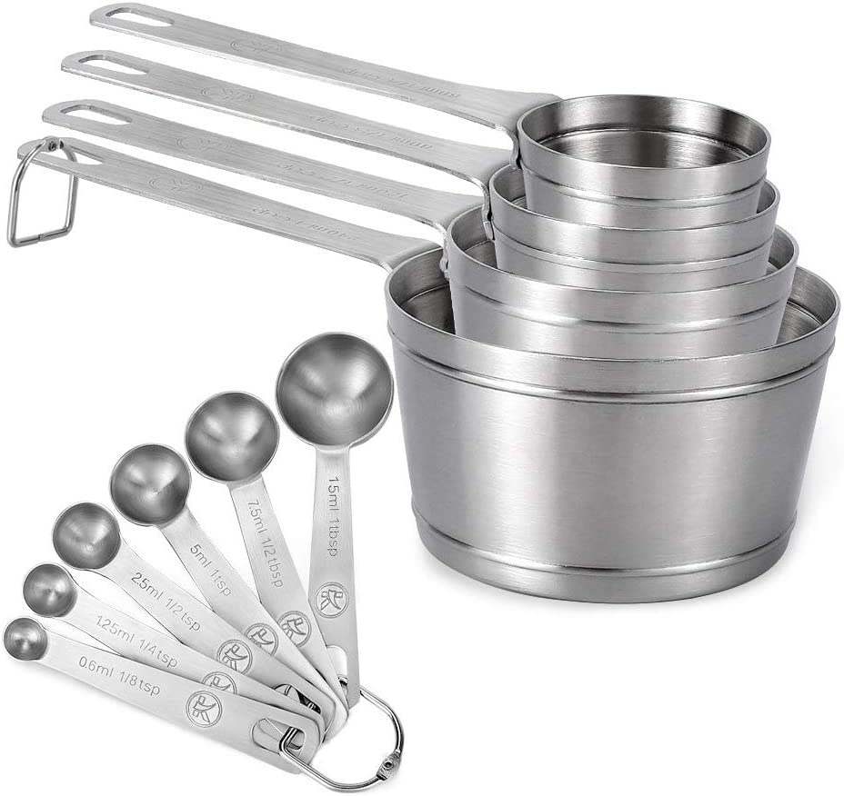 Measuring Cups and Spoons Set of 10 piece in 18/8 (304) Stainless Steel, Kitchen Stackable 4 Measuring Cups and 6 Measuring Spoons for Dry and Liquid Ingredients, Upgraded Thickness & Dishwasher Safe