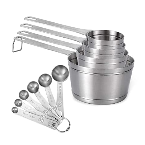 27cc12afcb4 Amazon.com  Measuring Cups and Spoons Set of 10 piece in 18 8 ...