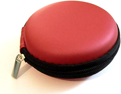 Red Leather Case Pocket Size Holder Case for Plantronics Backbeat Go , Marque 2 M165 , Marque M155 , M55 M50 M28 M25 M24 M20 , Savor M1100 , M100 MX100 , Discovery 975 925 Wireless Bluetooth Headset M-165 M-155 M-55 M-50 M-28 M-25 M-24 M-20 M-1100 M-100 MX-100 Bag Holder Pouch Hold Box Pocket Size Hard Hold Protection – Protect Save Earhooks Ear Hook Ear Loop Ear Bud Ear Gel Eargel