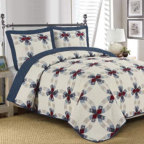 South Bay Heritage Quilt, Full/Queen, Navy, Red, White
