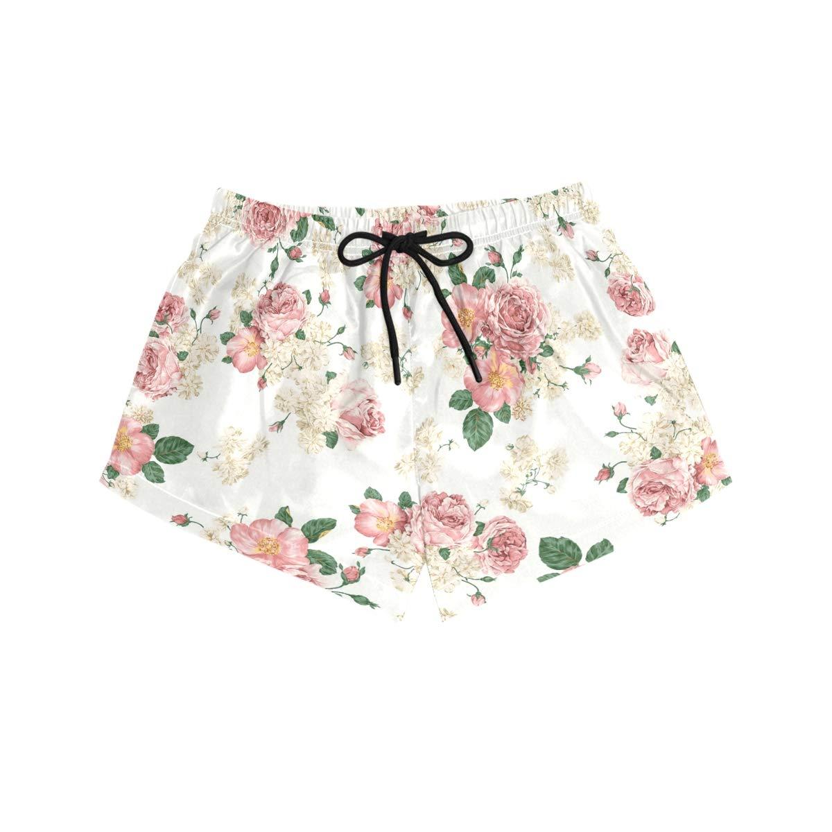 Lttedeng Womens Fashion Summer Rose Beach Shorts Casual Short Pants