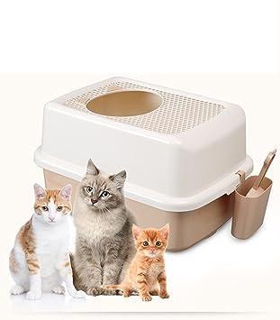 Cutepet Inodoro Arenero Para Gato Caja De Basura Rejilla Caja De Arena Semiacerrada Para Gatos Gato MS-84760,Beige: Amazon.es: Deportes y aire libre