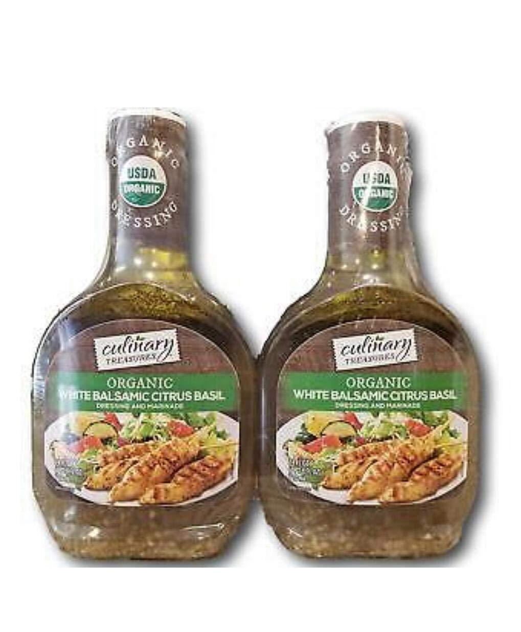Culinary Treasures Organic White Balsamic Citrus Basil Dressing, 24 fl oz, Pack of 2 Bottles by Culinary Treasures