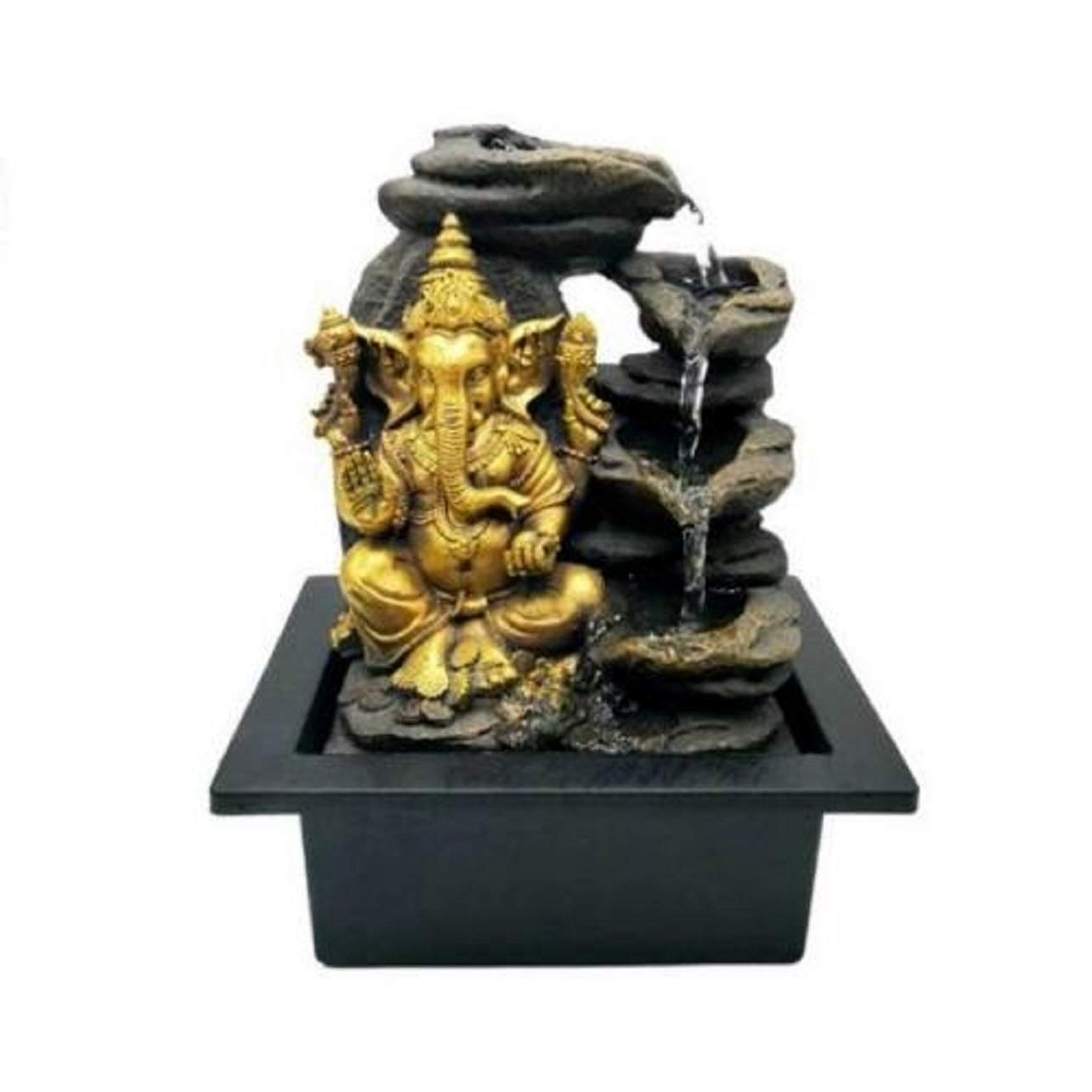 KERALA Zimmerbrunnen mit Ganesha Gold mit elektrischer Pumpe