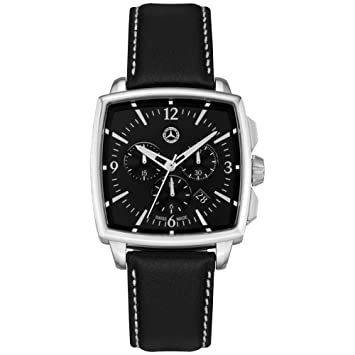 Mercedes Benz original Hombre Reloj de pulsera Cronógrafo Classic Carré Acero  Inoxidable piel 46f1e5cc7baa