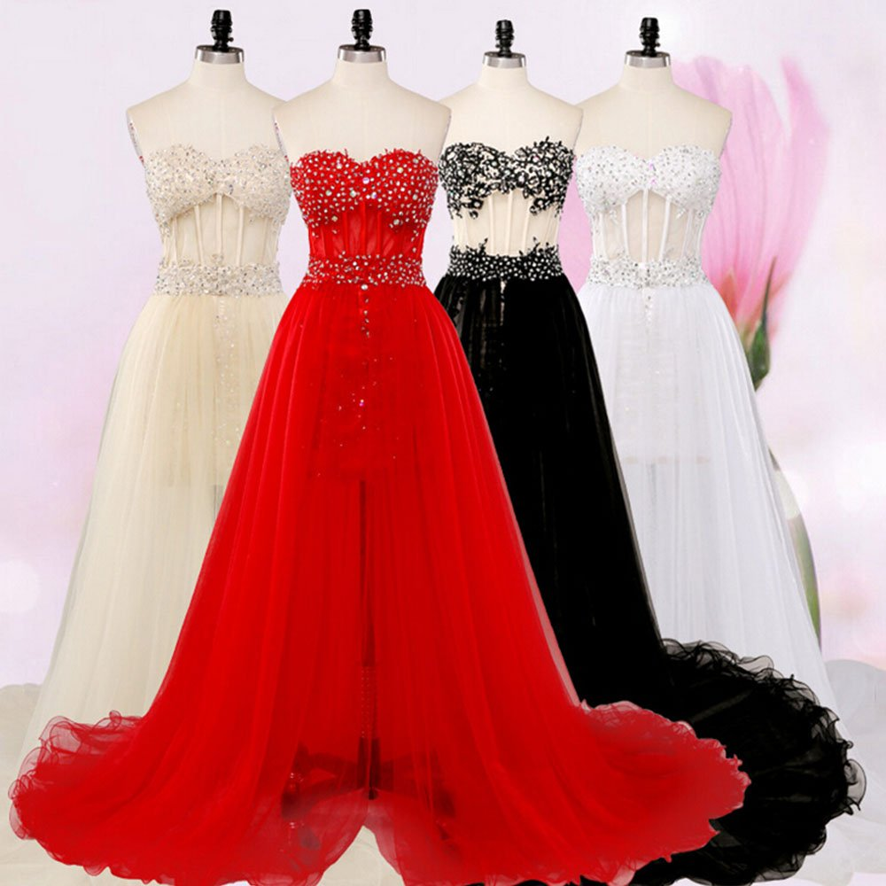 Eastlion Long Lace Elegant Mermaid Evening Prom Dresses Tube Top Bridesmaid Dresses,Party Dresses,Evening Formal Dress Gown White XL: Amazon.co.uk: Clothing