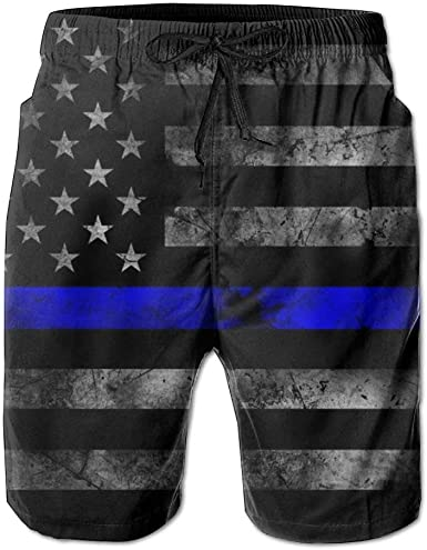 QQMIMIG Mens American Thin Blue Line Flag Summer Breathable Swim Trunks Beach Shorts Board Shorts