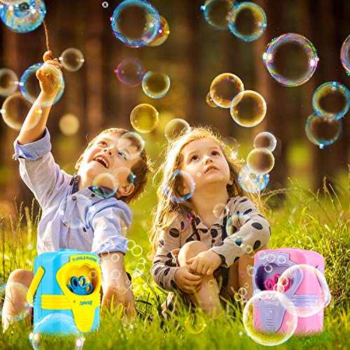 MOICO Bubble Machine, Automatic Bubble Blower Maker Musical Dreamlike Bubble for Kids Funny Outdoor Soap Bubble Toys Bubbles for Birthday, Party, Wedding (Blue & Pink, 2 Packs) -