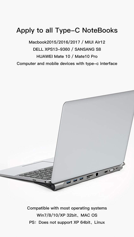 10/in 1/Dockingstation Hub f/ür Typ C Schnittstelle Notebook Aluminium Legierung 10/Anschl/üsse Dock mit USB 3.0//TF//Micro SD//SD//MMC//HDMI//Gigabit Netzwerk//VGA//USB-c PD //Audio Ausgang f/ür MacBook