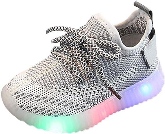 Enfants Basket LED Lumineuse Chaussures de Sport,Alaso Pas Cher Mode Bébé Filles Garçon Maille Sneaker Sport Running Shoes (Taille: 21 30)