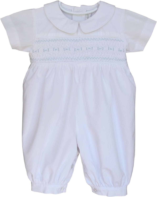 Dakomoda Baby Boys 100/% Organic Pima Cotton Overall Smocked Blue Footie Easter Overall