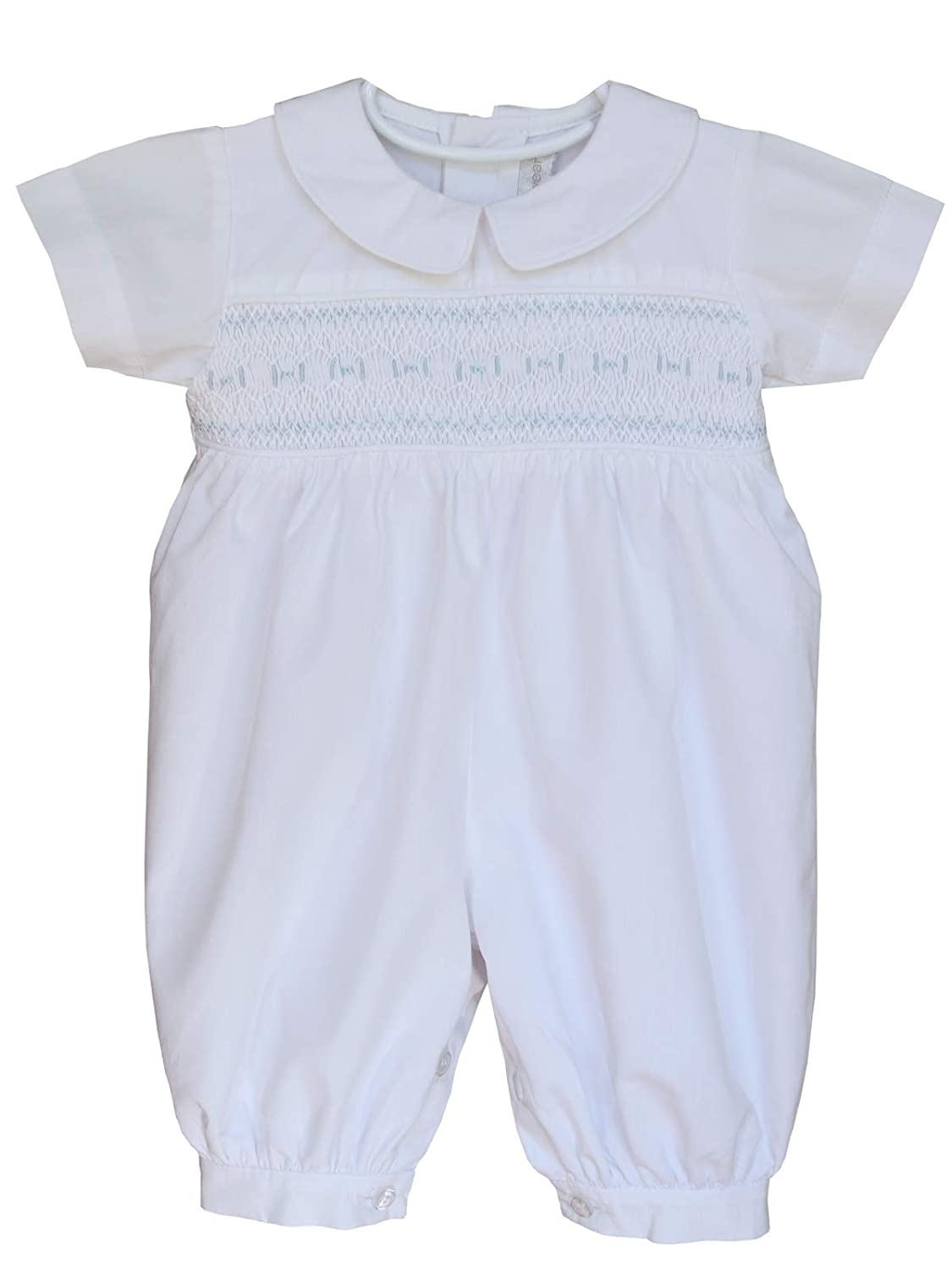 Carouselwear Special Occasion Baby Boy White Smocked Christening Outfit