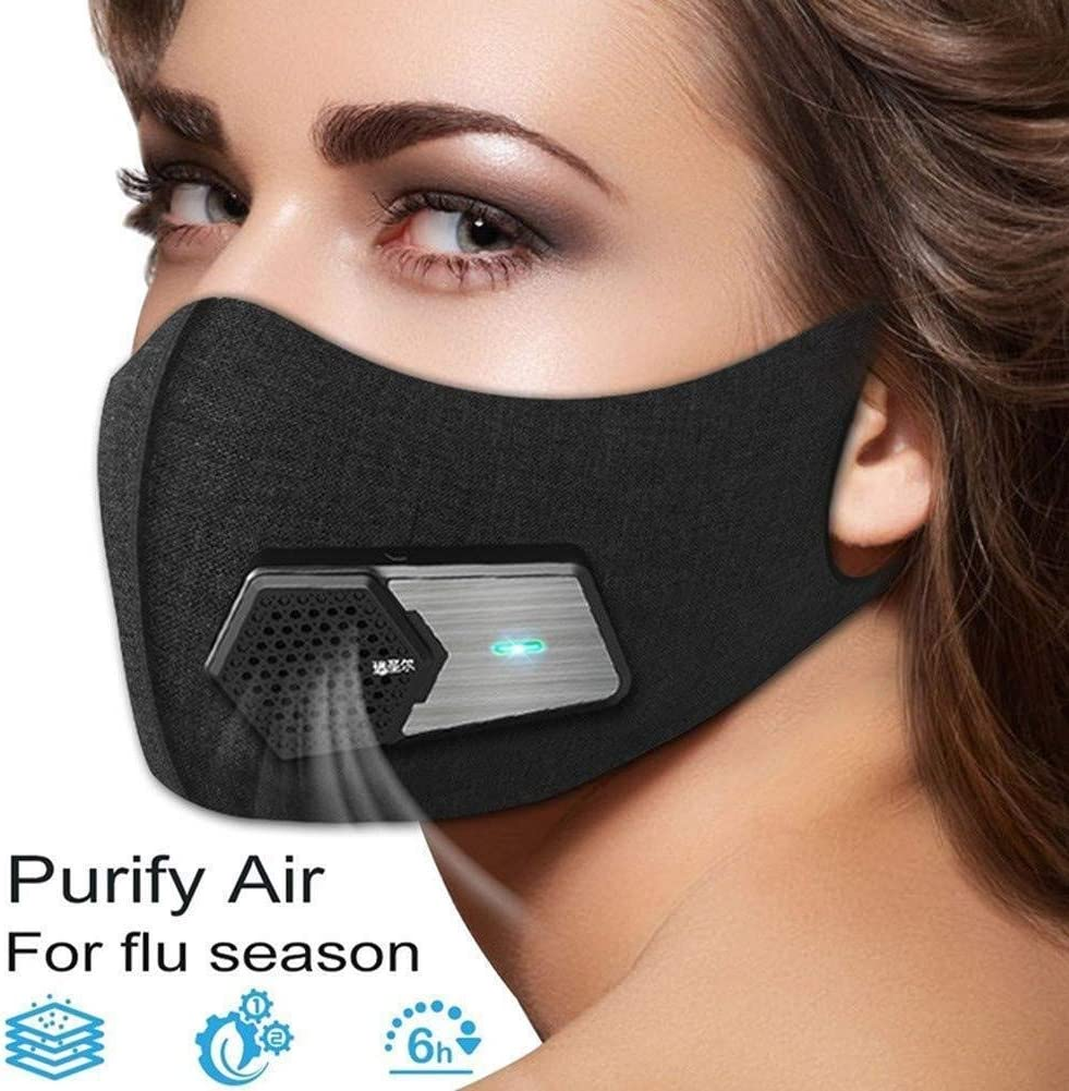 AJL Smart Electric Face Protector Shield Black Antipolución Purificador de Aire Respirador Antipolvo Lavable ...