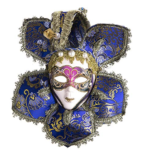YUFENG Blue Mini Jolly Mask Venetian Masquerade Party Gift Halloween Decoration Wedding Favor Novelty Party Favor (Royal Blue)]()
