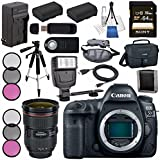 Canon EOS 5D Mark IV DSLR Camera (Body Only) 1483C002 + EF 24-70mm f/2.8L II USM Lens + LPE-6 Lithium Ion Battery + External Rapid Charger Bundle