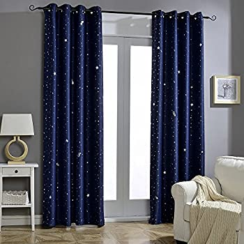 jaoul night sky twinkle star kids blackout curtains grommet top window drapes for bedroom