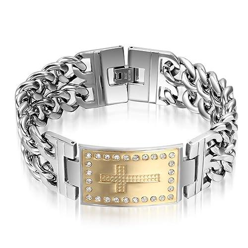 Amazon Com Mens Heavy Stainless Steel Rhinestone Cross Bracelet