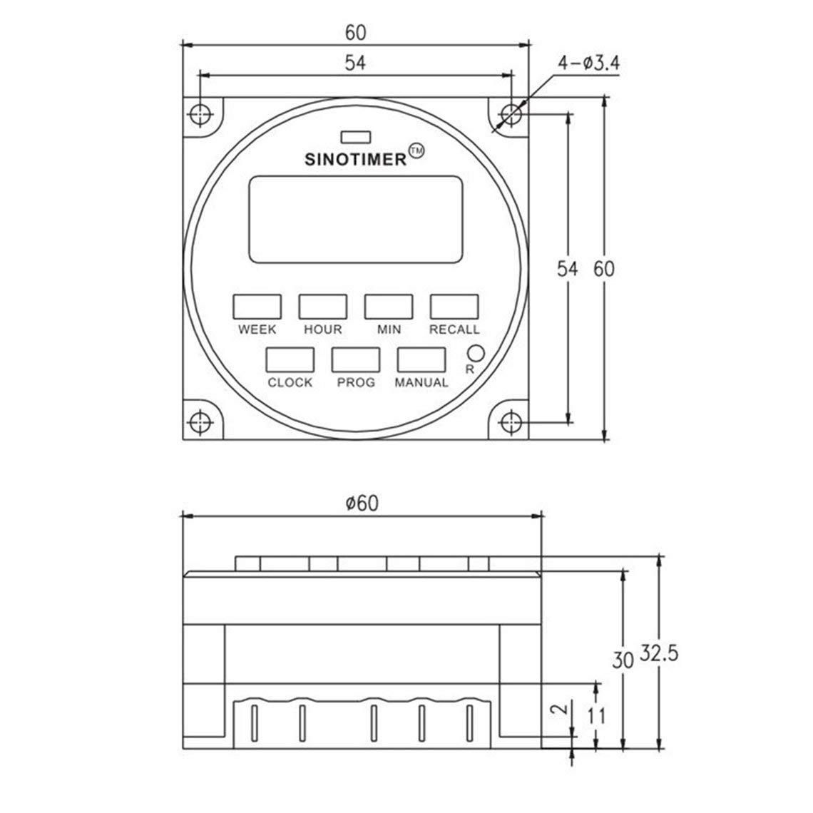 Zinniaya SINOTIMER TM618N-2 220V LCD Interruptor temporizador programable para CA digital con rel/é listado en UL con funci/ón de tiempo de cuenta regresiva
