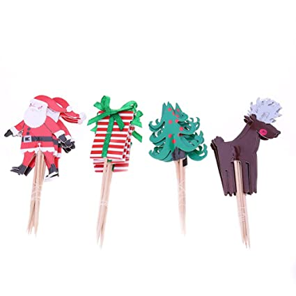 canghai 24 pcs christmas cake cupcake toppers picks cake decoration santa clauschristmas tree - Christmas Cake Decorations Amazon