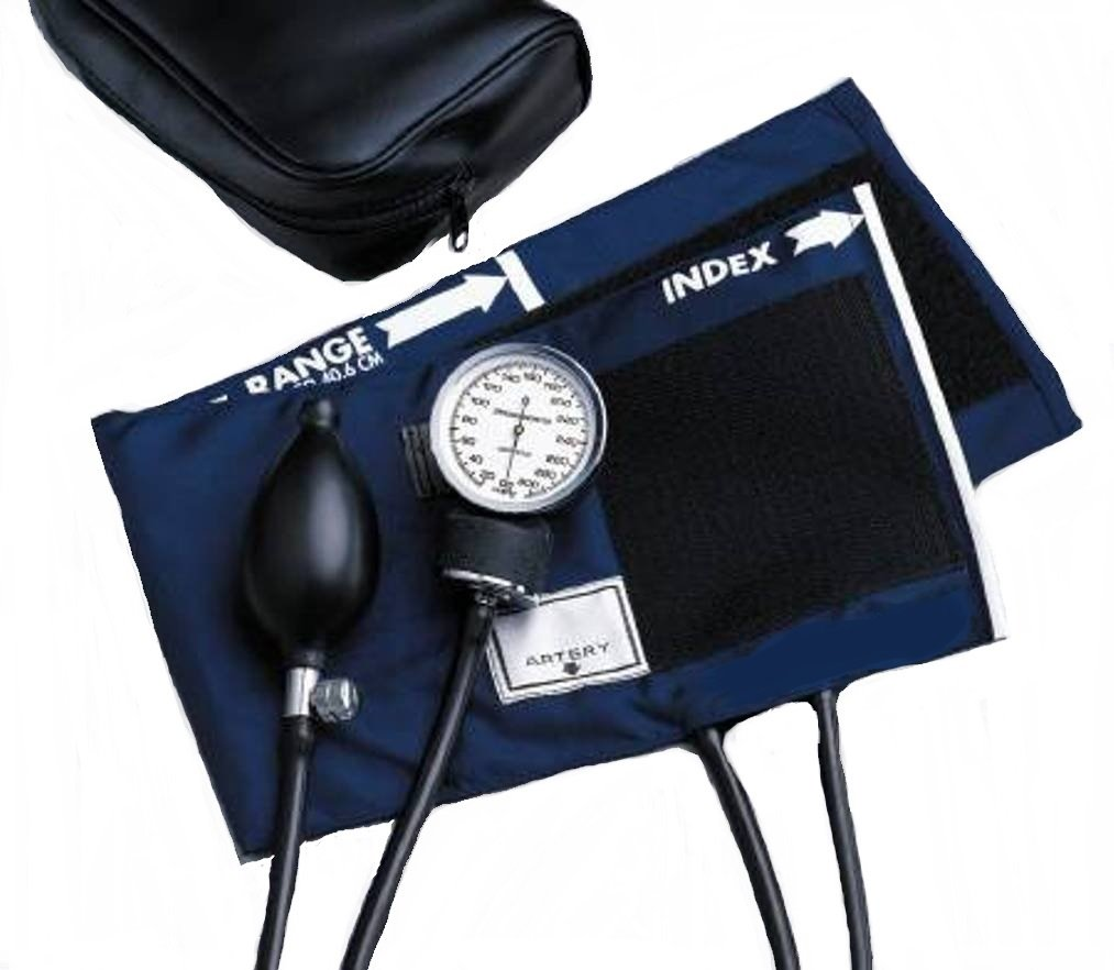 McKesson 01-776XMCE Standard Pocket Style Hand Held Aneroid Sphygmomanometer, Large Adult Cuff Size, Navy Blue
