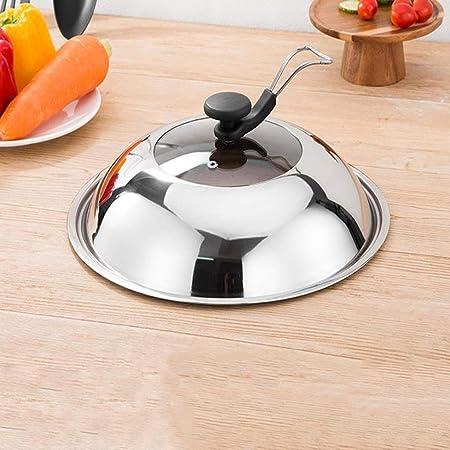 Tapaderas WYB Tapa De La Olla Cubrir Acero Inoxidable Vidrio Templado Casa Cocina Puede Soportar Visible Wok Tapa De Fondo Plano (Tamaño : 26cm): Amazon.es: ...