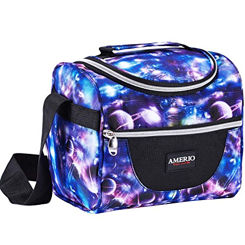 Lunch Bags For Kids Reusable Insulated Lunch Box Tote Bag for Men & Women, Kids, Front Pocket for Small Items,Zipper Closure, Handle Adjustable shoulder Strap (Starry)