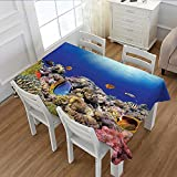 MartinDecor Ocean Patterned Tablecloth Wild Sea Life Colorful Ancient Coral Reefs Exotic Fishes Bali Indonesia Dust-proof Oblong Tablecloth Tan Blue and Orange 60''x84''