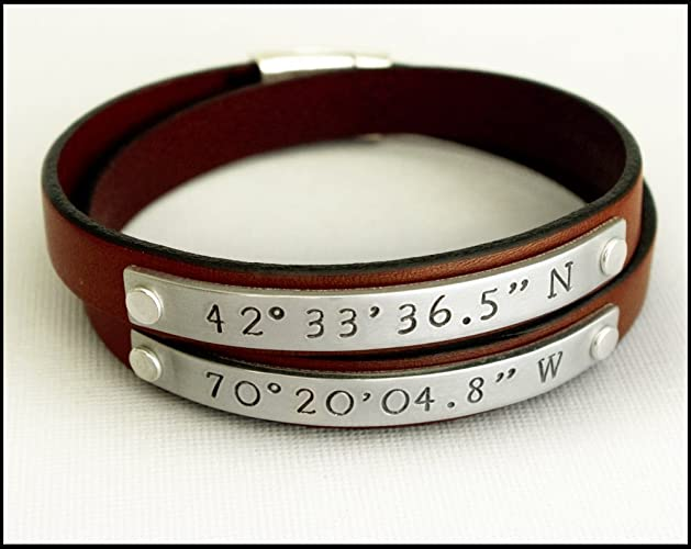 3898a83aee09a Amazon.com: Double Wrap Leather Bracelet with Custom Coordinates ...