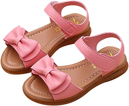 CYBLING Girls Closed-Toe Leather Solid Flower Outdoor Sport Casual Sandals Toddler//Little Kid Pink