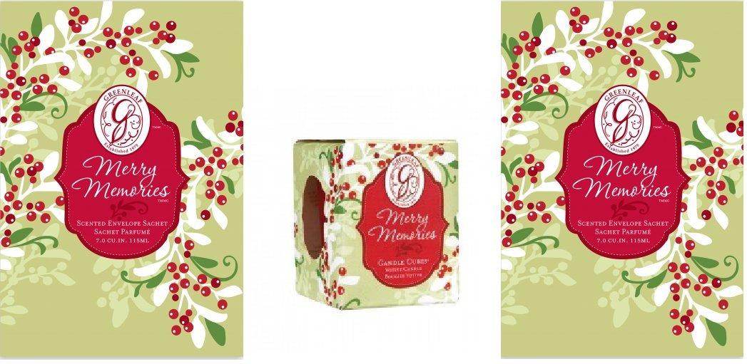 Greenleaf Merry Christmas Memories–Set di 3, 2grandi sacchetti profumati e 1Merry Christmas Memories profumata candela votiva