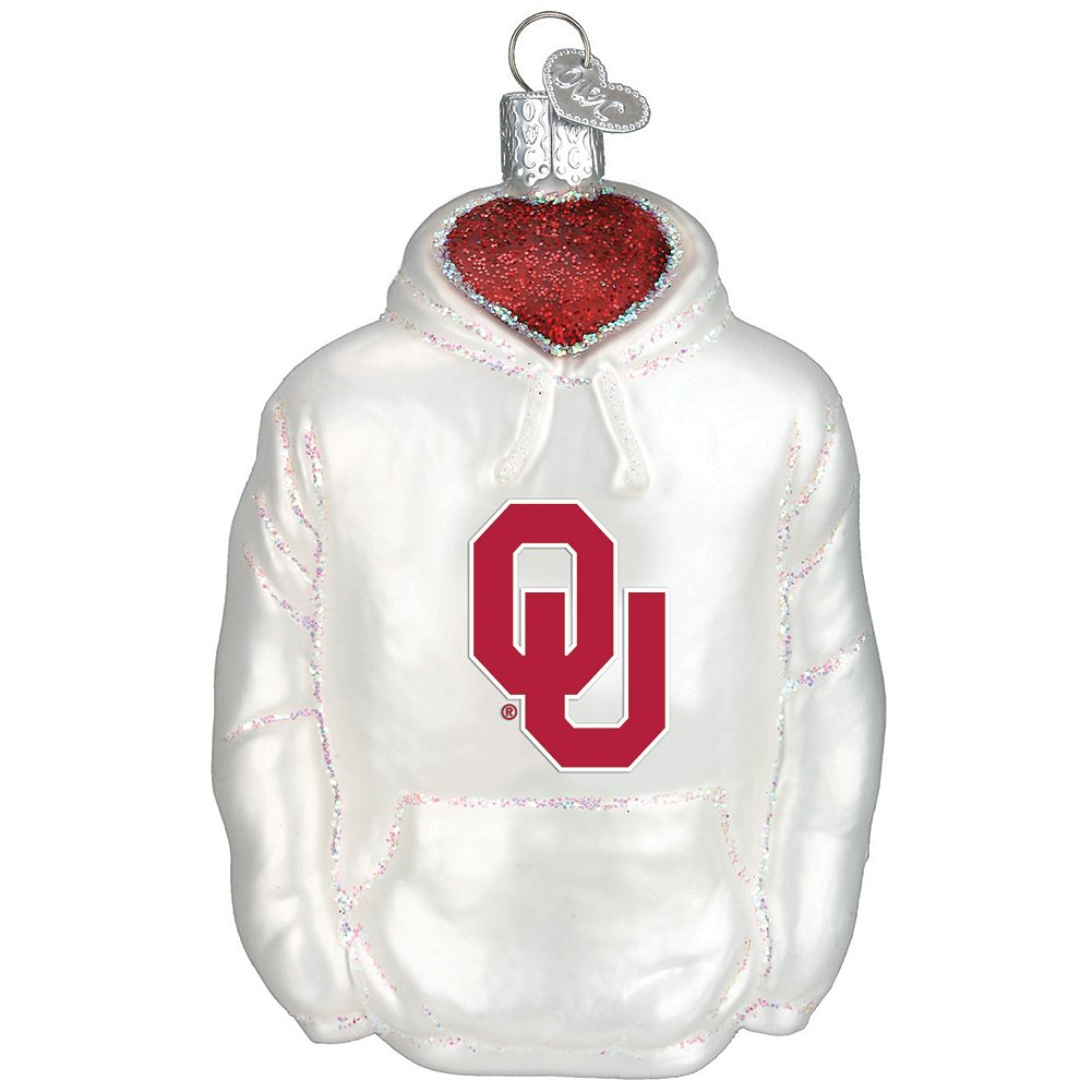 Mouth-Blown Glass College Hoodie Keepsake Christmas Ornament - Oklahoma