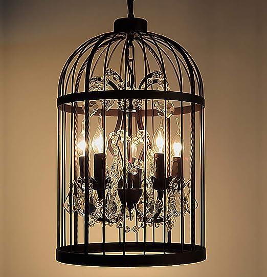 SXMY - Lámpara de araña de Cristal de Jaula de pájaros Vintage de ...