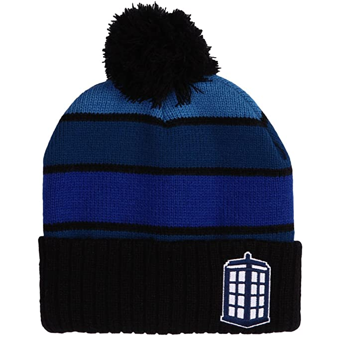 Doctor Who Tardis Striped Beanie with Pom