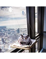 Cat Hammock Window Bed with 4 Strong Suction Cups Window Perches for Pet Kitten Window Seat Include A Cute Cat Paw Print Blanket