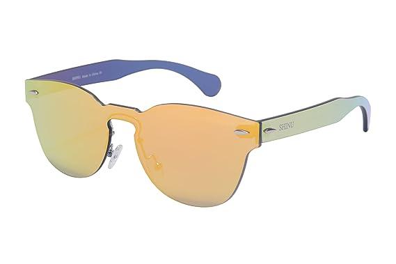 SHINU Clasico Marco Redondo Espejo Gafas de sol de moda Gafas de sol populares Gafas de Sol del Estilo de la Fiesta de una Pieza de las Gafas de ...
