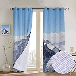 Fabric Drapes Panels Winter Snowy Rocky Mountain Peaks