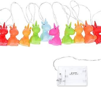 Navaris Guirlande Lumineuse LED - Guirlande Licorne Enfants 2m - Décoration  Chambre Enfant Bébé - Lumière Blanc Chaud - 10x Licorne Multicolore