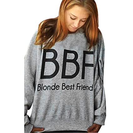 80dda3f32 Image Unavailable. Image not available for. Color: Women Sweatshirt,Nmch  Ladies Loose Round Neck BBF Letter Print Sweater Pullover Sweater Long  Sleeve