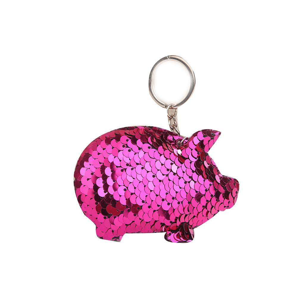 Bouder réfléchissant brillant Cochon Porte-clés Pendentif coloré Sequins Porte-clés Paillettes Pig Key Porte-Clés Sac Pendentif, rose clair