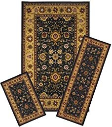 Traditional Oriental Floral Area Rug Set - 3 PC SET ! 5 feet x 8 feet , Gold, Black, carpet, stain resistant, foyer, dining room, living room