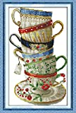 YEESAM ART New Cross Stitch Kits Advanced Patterns for Beginners Kids Adults - Elegant Coffee Cup 11 CT Stamped 35×54 cm - DIY Needlework Wedding Christmas Gifts