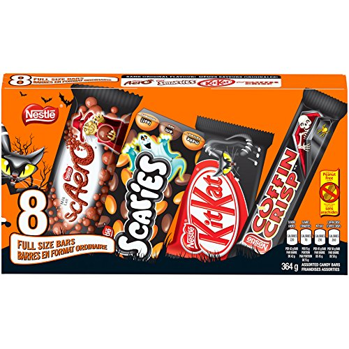 Nestle Chocolate Bars Halloween (NESTLÉ Full-Sized Scary Chocolate Bars - KITKAT, COFFIN CRISP, SCAERO, SCARIES - 364g (Pack of 8)
