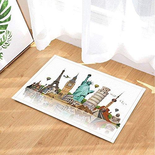 (Poster Bath Rugs Oriental Pearl Statue of Liberty Eiffel Tower Big Ben Kremlin Non-Slip Doormat Floor Entryways Indoor Front Door Mat Kids Bath Mat 15.7x23.6in Bathroom Accessories )