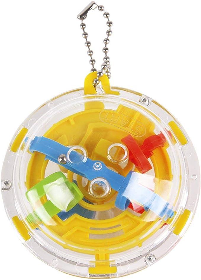 IronHeel 36 Barreras Mini 3D Laberinto esférico Magic Maze Ball Puzzle Toy Llavero Cadena giratoria Kid Toys Llavero - Amarillo: Amazon.es: Juguetes y juegos