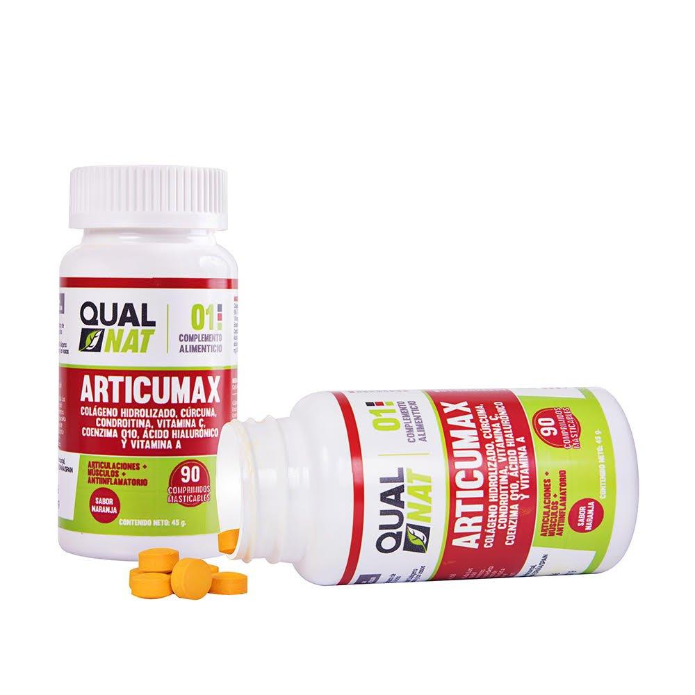 Qualnat Colágeno masticable con extracto de cúrcuma - Comprimidos con vitamina C, condroitina y ácido hialurónico - 90 Comprimidos sabor Naranja: Amazon.es: ...