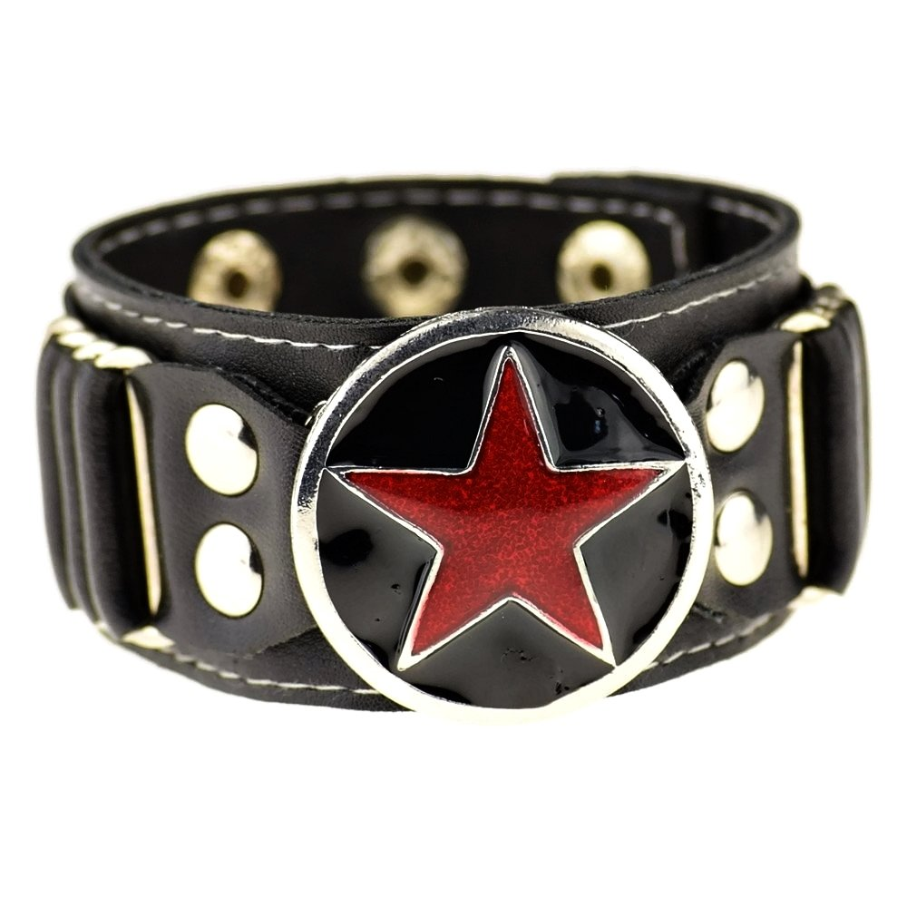 Bling Cartel Red Star Black Faux Leather Studded Goth Punk Rock Wide Adjustable Cuff Bracelet